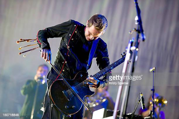 Jonsi Birgisson of Sigur Ros performs onstage during the 10th annual Rock En Seine Festival at the Domaine National de SaintCloud park on August 24...