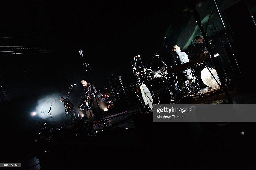 Jonsi Birgisson (C) of the Icelandic rock band Sigur Ros performs on stage during day 5 of Iceland Airwaves Music Festival at Laugardagshollin on November 4, 2012 in Reykjavik, Iceland.