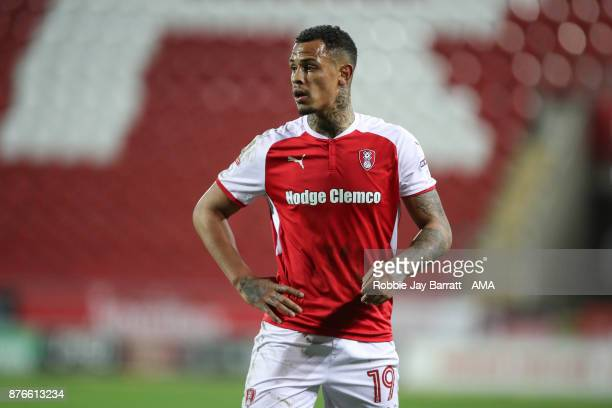 Jonson ClarkeHarris of Rotherham United during the Sky Bet League One match between Rotherham United and Shrewsbury Town at The New York Stadium on...