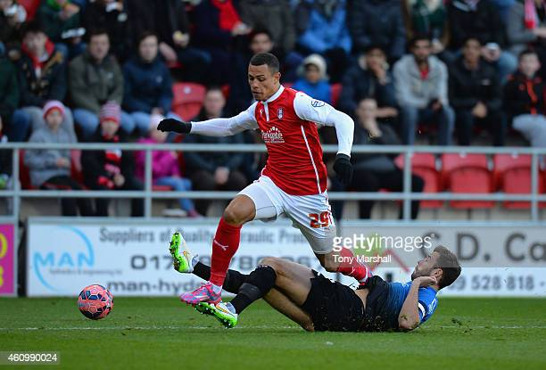 Jonson ClarkeHarris of Rotherham United is tackled by Steve Cook of Bournemouth during the FA Cup Third Round match between Rotherham United and...