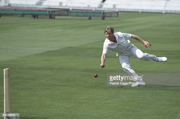 Jonty Rhodes of South Africa demonstrates his fielding techniques for the MCC Masterclass coaching manual at Lord's Cricket Ground London circa June...