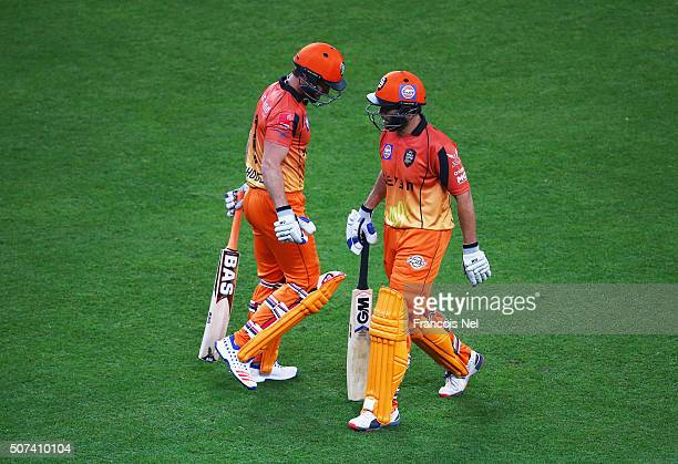 Jonty Rhodes of Virgo Super Kings talks to Neil McKenzie as he walks out to bat during the Oxigen Masters Champions League 2016 match between Virgo...