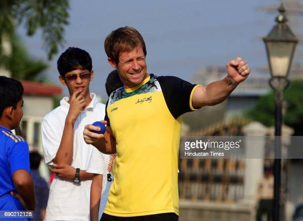 Jonty Rhodes training kids in fielding at Mumbai Cricket Association BandraKurla Complex on Sunday