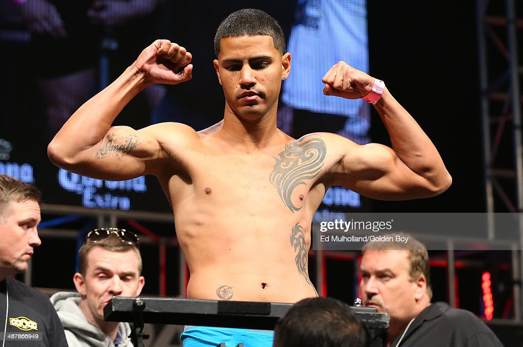 Jonuel Tapia weighs in for his middleweight fight against Anthony Ogogo at the MGM Grand Garden Arena on May 2, 2014 in Las Vegas, Nevada.