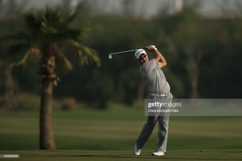 Joo Heung-choi of Korea plays his second shot on the first hole during round two of The Open Championship International Final Qualifying Asia at Amata Springs Country Club on March 01, 2013 in Bangkok, Thailand.
