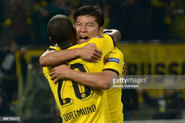 Joo Ho Park of Dortmund celebrates with team mate Adrian Ramos after scoring his team's second goal during the UEFA Europa League Group C match...
