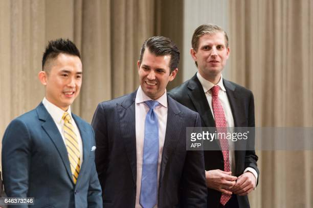 Joo Kim Tiah CEO of the Holborn Group Donald Trump Jr and Eric Trump attend the ribbon cutting ceremony inaugurating the Trump International Hotel...