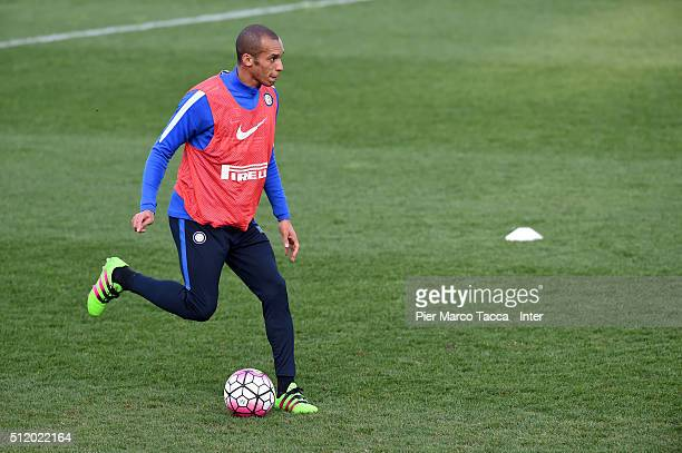João Miranda de Souza Filhoin action during FC Internazionale training session of afternoon at Appiano Gentile on February 24 2016 in Como Italy