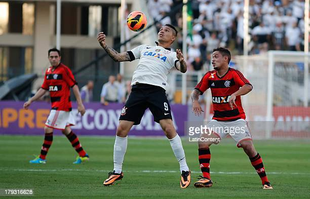 João Paulo of Flamengo fights for the ball with Paolo Guerrero of Corinthians during the match between Corinthians and Flamengo for the Brazilian...