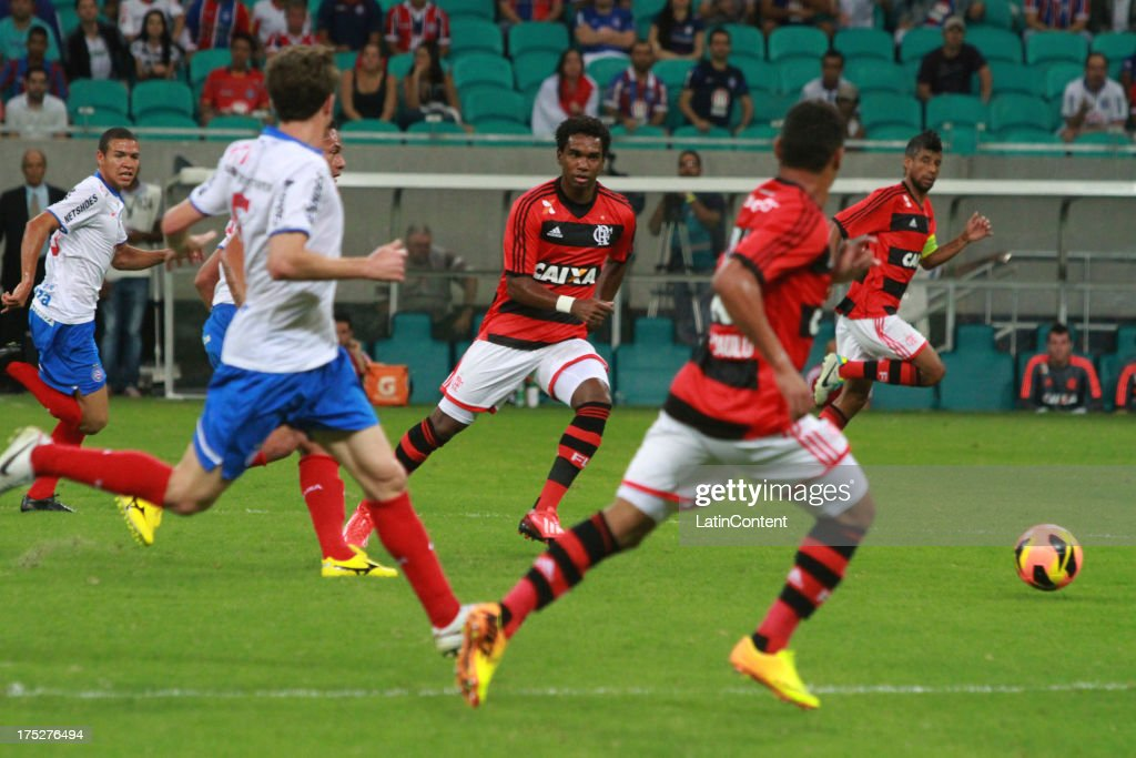 João Paulo of Flamengo in action during a match between Flamengo and Bahia as part of the Brazilian Serie A Championship at Arena Fonte Nova Stadium on July 31, 2013 in Salvador, Brasil.