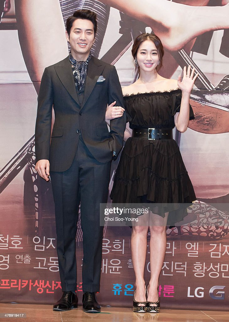 Joo SangUk and Lee MinJung attend the MBC drama 'Sly and Single Again' press conference at The Raum on February 24 2014 in Seoul South Korea