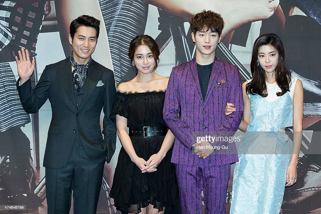 Joo SangWook Rhee MinJung Seo KangJun and Kim GyuRi attend the press conference for MBC Drama 'Cunning Single Lady' at RAUM on February 24 2014 in...