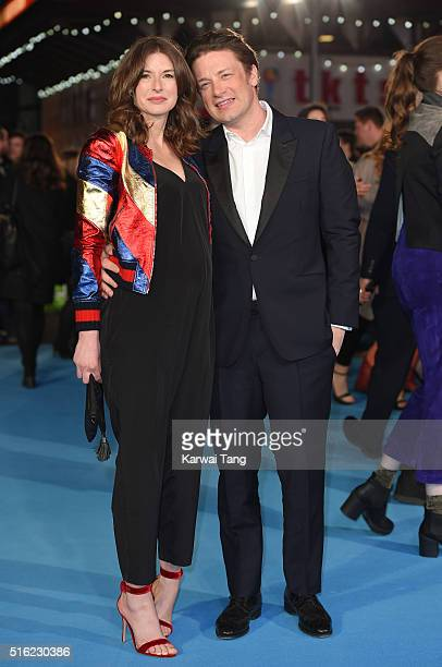 Jools Oliver and Jamie Oliver arrive for the European premiere of 'Eddie The Eagle' at Odeon Leicester Square on March 17 2016 in London England