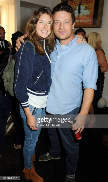 Jools Oliver and Jamie Oliver attend a special screening of 'Sunshine On Leith' hosted by Jamie Oliver and Dexter Fletcher at BAFTA on September 23...