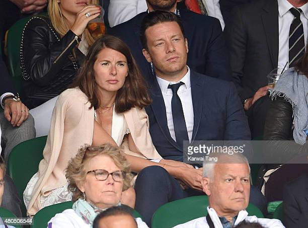 Jools Oliver and Jamie Oliver attend day 13 of the Wimbledon Tennis Championships at Wimbledon on July 12 2015 in London England
