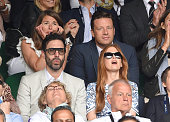 Jools Oliver Sacha Baron Cohen Jamie Oliver and Isla Fisher attend day 13 of the Wimbledon Tennis Championships at Wimbledon on July 12 2015 in...