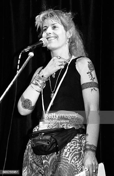 Joolz Denby performs on stage Comedy Tent Glastonbury Festival Ireland 1990
