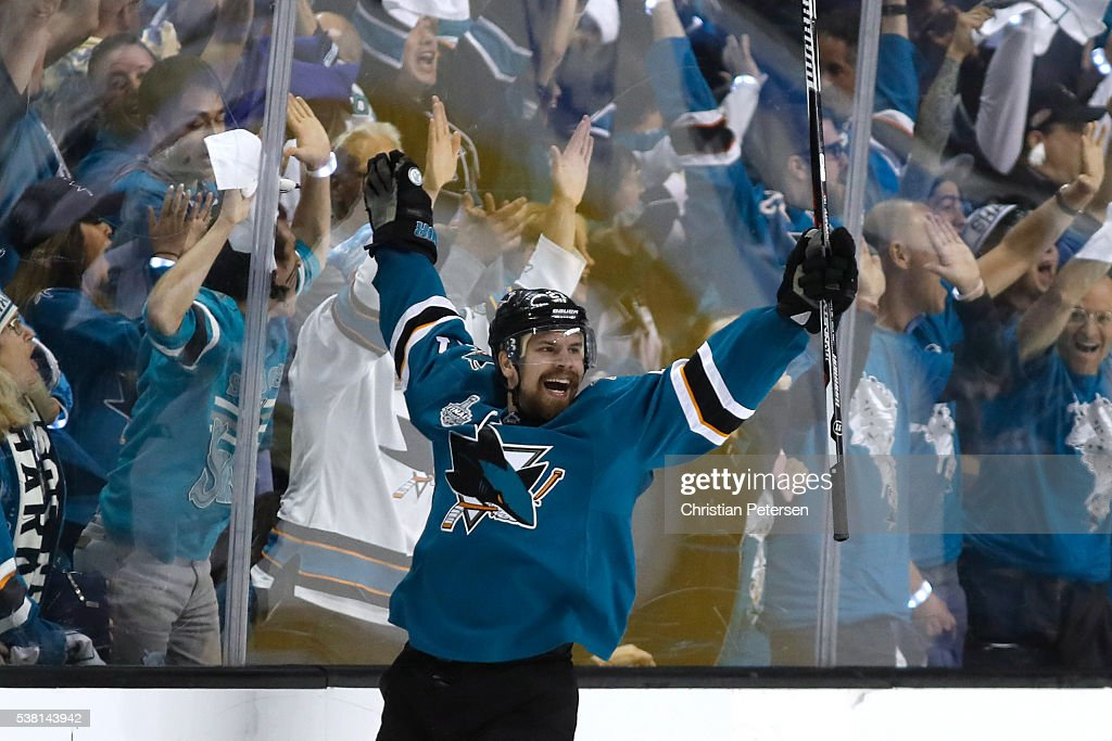 Joonas Donskoi of the San Jose Sharks celebrates his game winning goal against the Pittsburgh Penguins during overtime in Game Three of the 2016 NHL...