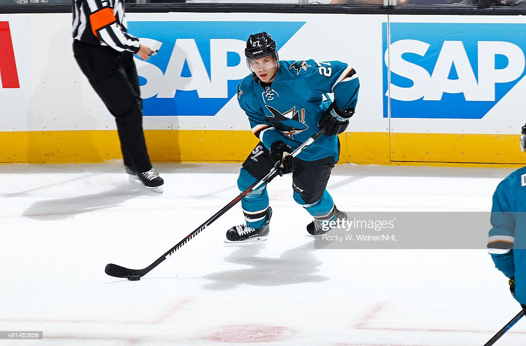 Joonas Donskoi #27 of the San Jose Sharks skates with the puck against the Arizona Coyotes at SAP Center on September 25, 2015 in San Jose, California.