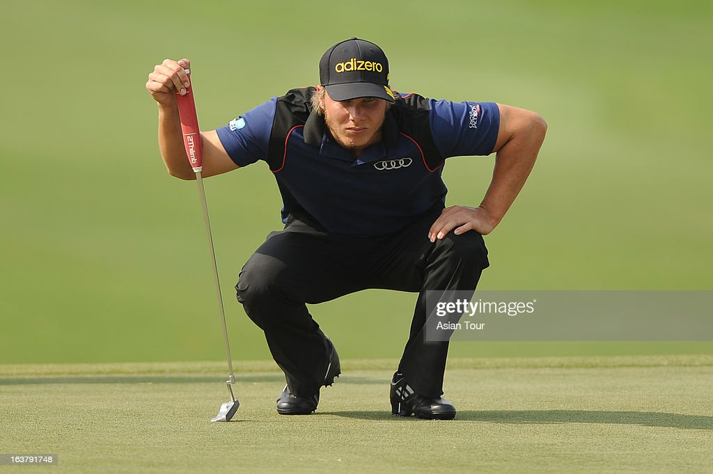 Joonas Granberg of Finland in action during day 3 of the Avantha Masters at Jaypee Greens Golf Course on March 16, 2013 in Noida, India.