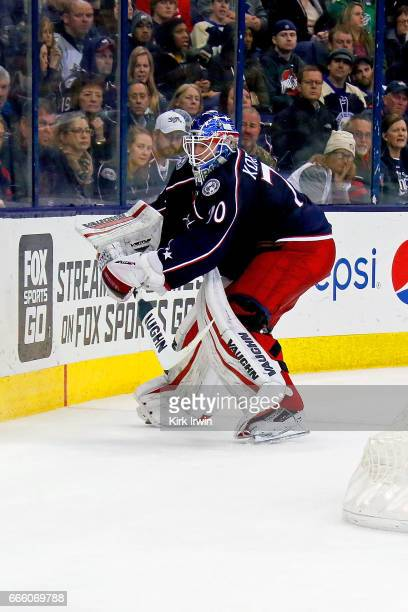 Joonas Korpisalo of the Columbus Blue Jackets clears the puck during the game against the Winnipeg Jets on April 6 2017 at Nationwide Arena in...