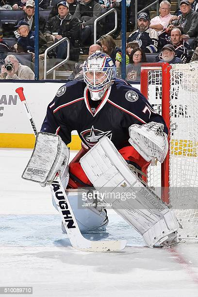 Joonas Korpisalo of the Columbus Blue Jackets defends the net against the Anaheim Ducks February 11 2016 at Nationwide Arena in Columbus Ohio