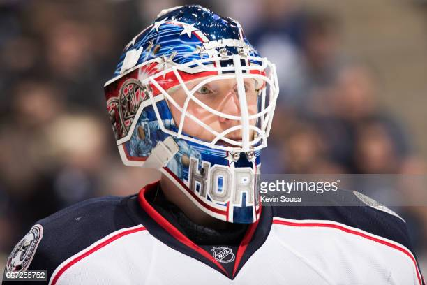 Joonas Korpisalo of the Columbus Blue Jackets during the second period at an NHL game against the Toronto Maple Leafs at the Air Canada Centre on...