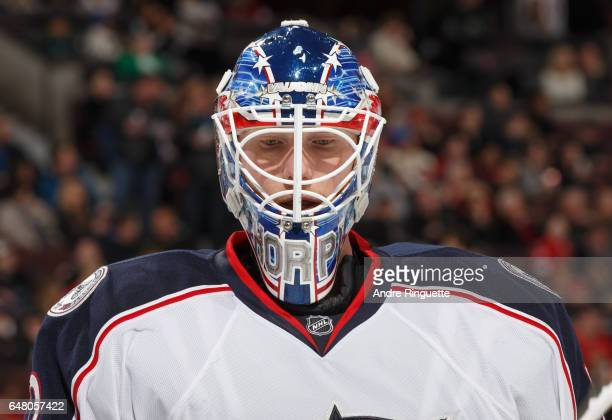 Joonas Korpisalo of the Columbus Blue Jackets looks on during a stoppage in play against the Ottawa Senators at Canadian Tire Centre on March 4 2017...