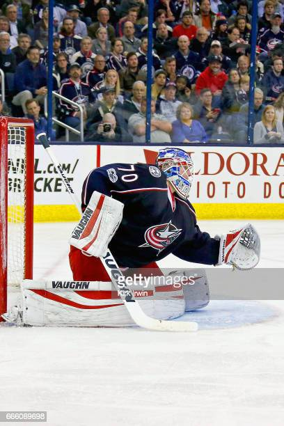 Joonas Korpisalo of the Columbus Blue Jackets makes a save during the game against the Winnipeg Jets on April 6 2017 at Nationwide Arena in Columbus...