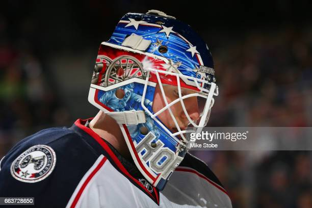 Joonas Korpisalo of the Columbus Blue Jackets skates against the New York Islanders at the Barclays Center on March 18 2017 in Brooklyn borough of...