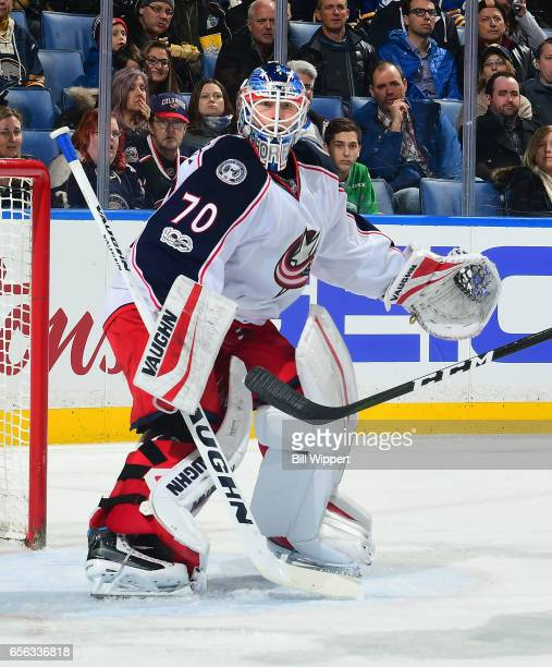 Joonas Korpisalo of the Columbus Blue Jackets tends goal against the Buffalo Sabres during an NHL game at the KeyBank Center on March 11 2017 in...