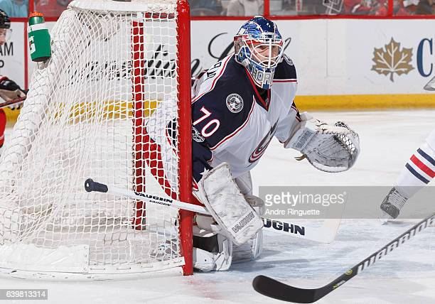 Joonas Korpisalo of the Columbus Blue Jackets tends net against the Ottawa Senators at Canadian Tire Centre on January 22 2017 in Ottawa Ontario...