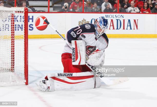 Joonas Korpisalo of the Columbus Blue Jackets tends net against the Ottawa Senators at Canadian Tire Centre on March 4 2017 in Ottawa Ontario Canada