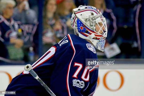 Joonas Korpisalo of the Columbus Blue Jackets warms up prior to the start of the game against the New York Islanders on October 6 2017 at Nationwide...