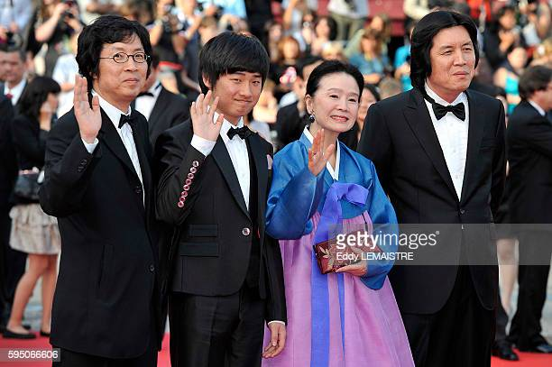 Joondong Lee David Lee Junghee Yun and Changdong Lee at the premiere of Poetry during the 63rd Cannes International Film Festival