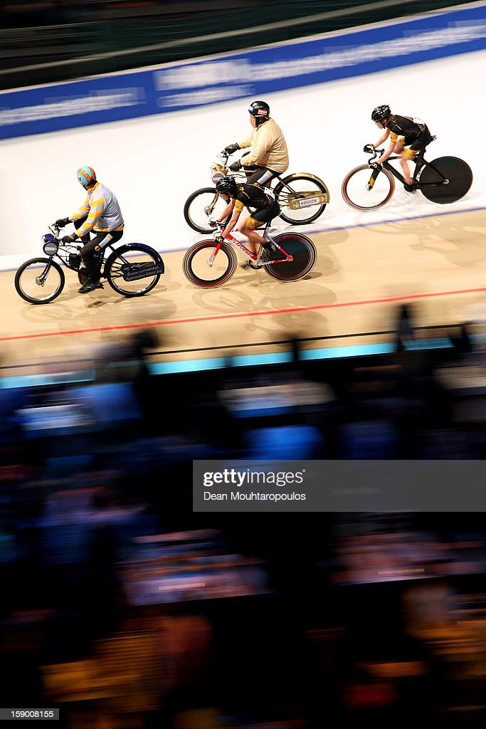 Joop Zijlaard (top centre) of Netherlands, a pacesetter for track cycling competes in the Derny Kids Race during the Rotterdam 6 Day Cycling at Ahoy Rotterdam on January 4, 2013 in Rotterdam, Netherlands.