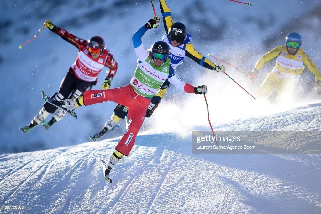 Joos Berry of Switzerland competes, Victor Oehling Norberg of Sweden competes, Brady Leman of Canada competes, Paul Eckert of Germany competes during the FIS Freestyle Ski World Cup, Men's and Women's Ski Cross on December 7, 2017 in Val Thorens, France.