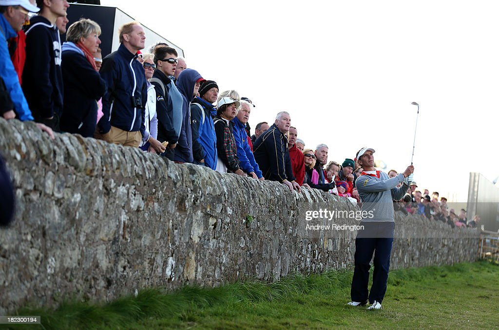 Joost Luiten of Holland plays onto the 17th green from the road during the final round of the Alfred Dunhill Links Championship on The Old Course, at St Andrews on September 29, 2013 in St Andrews, Scotland.