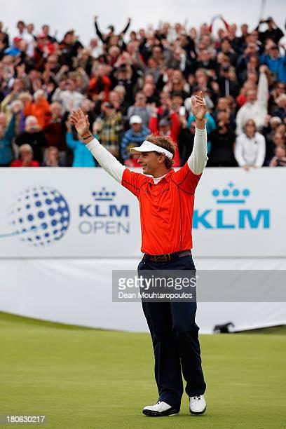 Joost Luiten of Netherlands celebrates after winning the KLM Open at Kennemer G CC on September 15 2013 in Zandvoort Netherlands