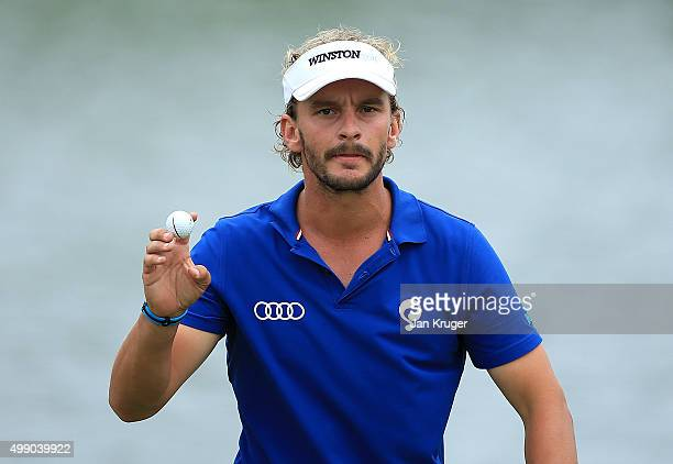 Joost Luiten of Netherlands reacts during day three of the Alfred Dunhill Championship at Leopard Creek Country Golf Club on November 28 2015 in...