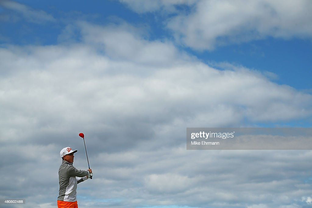 Joost Luiten of Netherlands Rickie Fowler of the United States hits his tee shot on the fourth hole during the final round of the Aberdeen Asset...