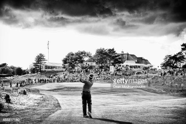 Joost Luiten of the Netherland hits his second shot on the 9th hole during Day 2 of the KLM Open held at De Kennemer Golf and Country Club on...