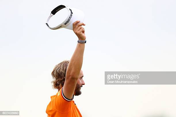Joost Luiten of the Netherlands celebrates victory after the final round on day four of the KLM Open at The Dutch on September 11 2016 in Spijk...