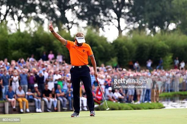 Joost Luiten of the Netherlands celebrates victory on the 18th green during the final round on day four of the KLM Open at The Dutch on September 11...