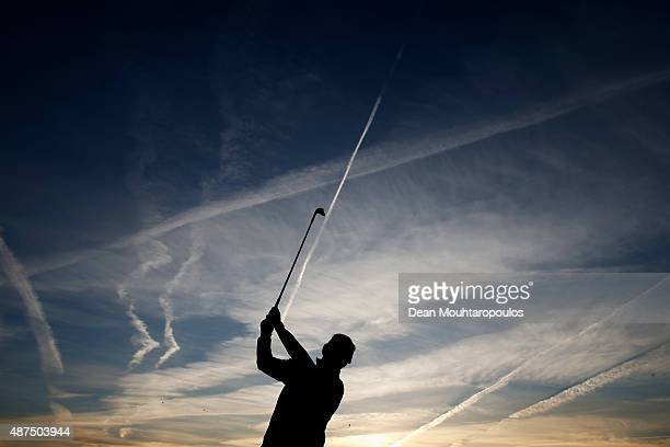 Joost Luiten of the Netherlands hits a practice shot on the driving range prior to Day 1 of the KLM Open held at Kennemer G CC on September 10 2015...