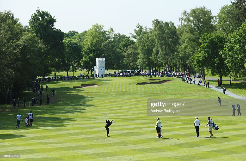Joost Luiten of the Netherlands hits his 2nd shot on the 4th hole during day two of the BMW PGA Championship at Wentworth on May 27, 2016 in Virginia Water, England.