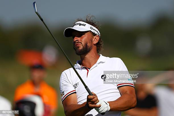 Joost Luiten of the Netherlands hits his second shot on the 11th during the second round on day two of the KLM Open at The Dutch on September 9 2016...