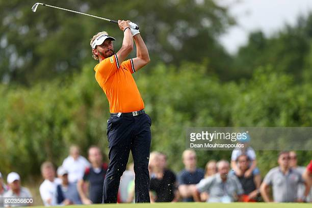 Joost Luiten of the Netherlands hits his second shot on the 17th during the final round on day four of the KLM Open at The Dutch on September 11 2016...
