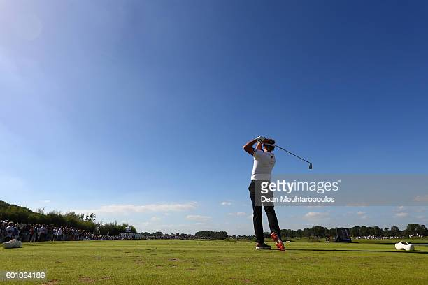 Joost Luiten of the Netherlands hits his tee shot on the 10th during the second round on day two of the KLM Open at The Dutch on September 9 2016 in...