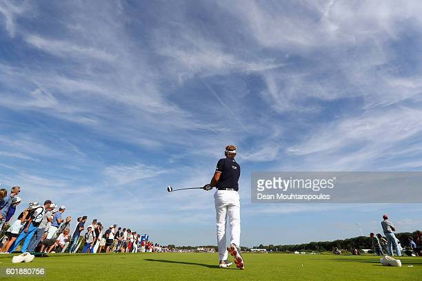 Joost Luiten of the Netherlands hits his tee shot on the 18th during the third round on day three of the KLM Open at The Dutch on September 10 2016...